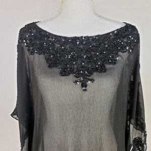 Calypso St. Barth Embellished Black Sheer Tunic